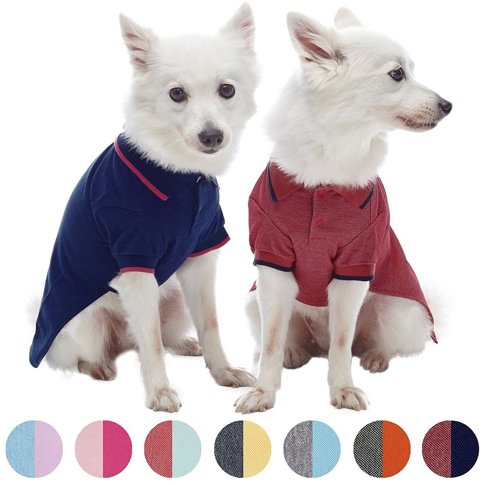 Blueberry Pet Pack of 2 Back to Basic Cotton Blend Summer Dog Polo Shirts in Navy and Rusty Red, Back Length 14'', Clothes for Dogs