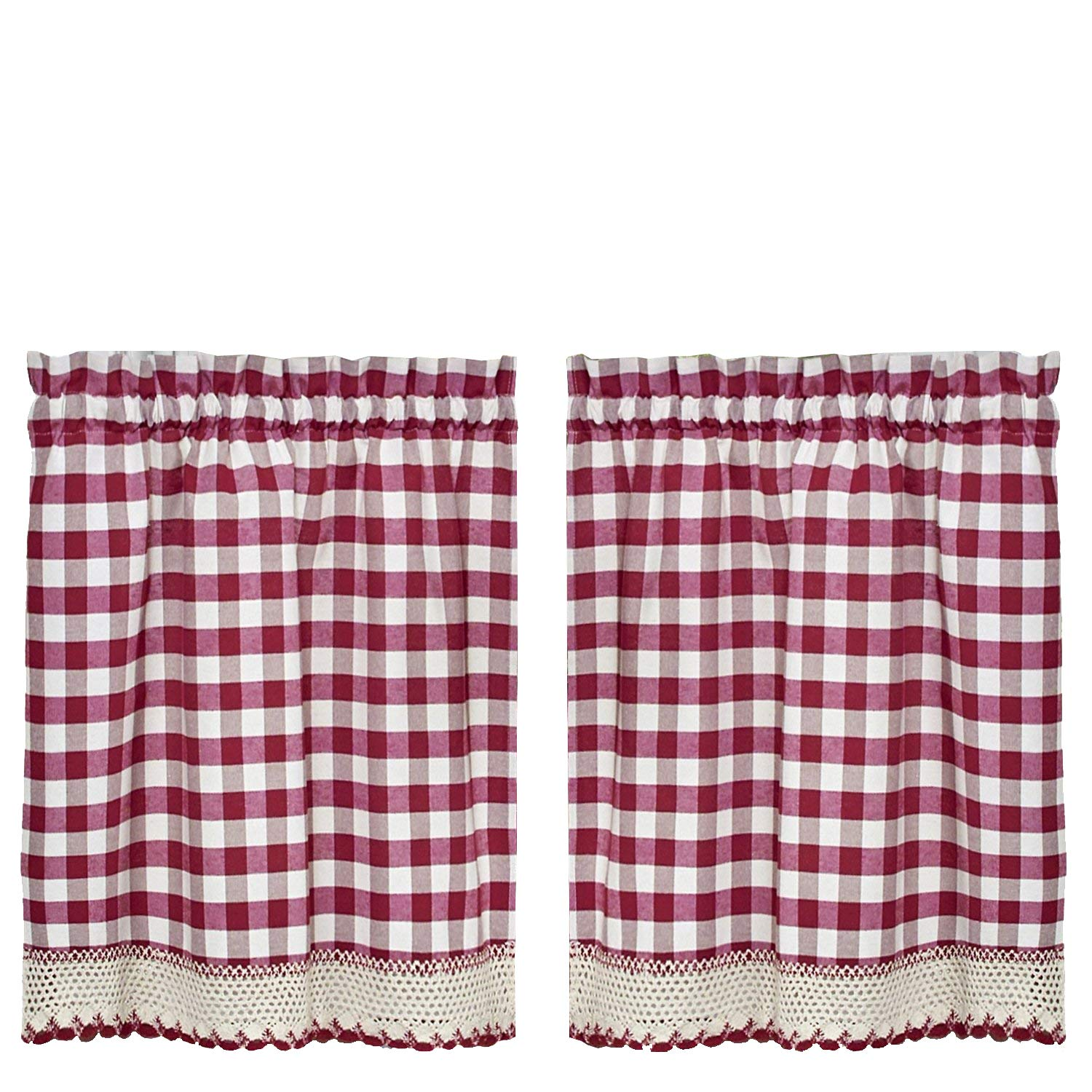 GoodGram Buffalo Check Plaid Gingham Custom Fit Window Curtain Treatments Assorted Colors, Styles & Sizes (36 in. Tier Pair, Burgundy)