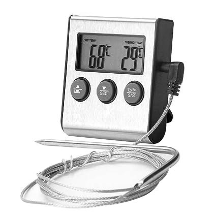 Termómetro Digital de Cocina - Newlemo Termómetro Horno de Acero Inoxidable con Temporizador, Pantalla LCD