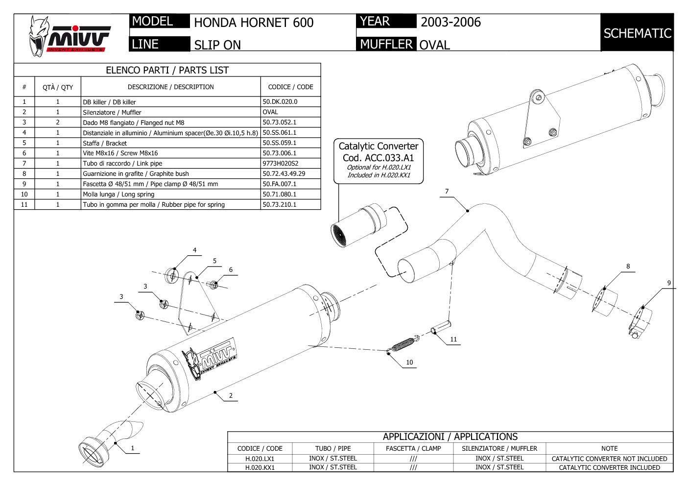 H.020.LX1 Pot D Echappament MIVV Oval Inox pour Hornet 600 2005 05