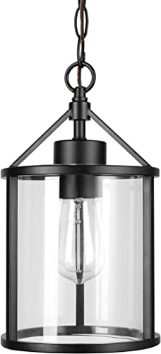Amazon Brand – Ravenna Home Single-Light Outdoor Pendant Light with Clear Glass Shade, Vintage Edison Bulb Included, 14.1 H, Black Finish