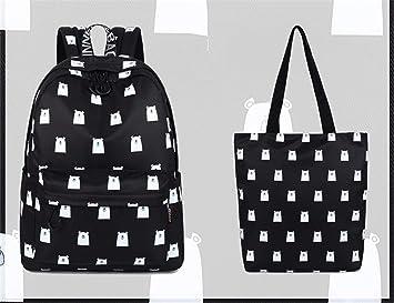 Meaningg Lindo tela impermeable mujeres mochila impresión del patrón del oso niñas gran capacidad diaria mochila portátil Black set 14 pulgadas: Amazon.es: ...