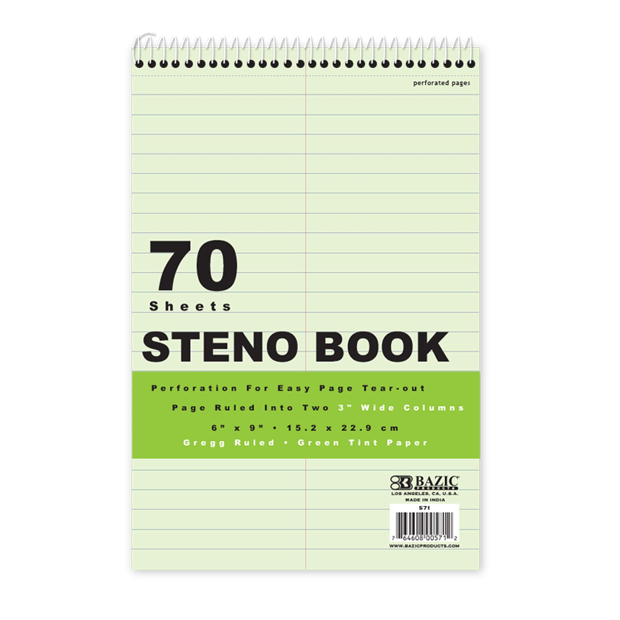 BAZIC 70 Ct. 6'' X 9'' Green Tint Gregg Ruled Steno Book (Case of 48) by B BAZIC PRODUCTS