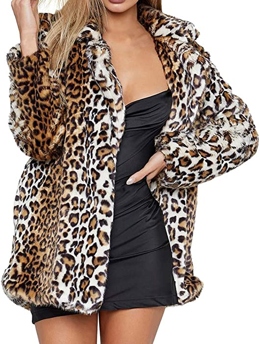 Linlink Mujeres Invierno Caliente Outwear Leopardo Caliente de Lana Artificial Abrigo Chaqueta de Solapa Invierno Parka Abrigos