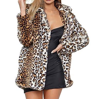BETTERUU UFACE Womens Leopard Warm Artificial Wool Coat Lapel Jacket Winter Parka Outerwear