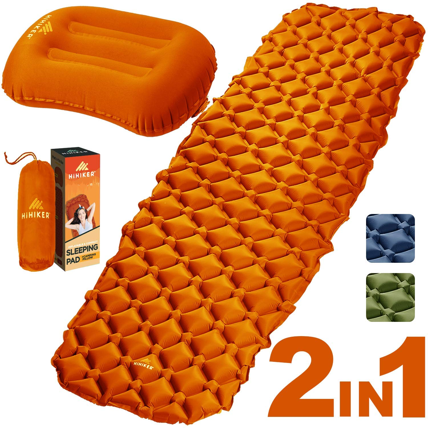 HiHiker Camping Sleeping Pad + Inflatable Travel Pillow - Ultralight Backpacking Air Mattress w/Compact Carrying Bag -Sleeping Mat for Hiking Traveling & Outdoor Activities (Orange) by HiHiker
