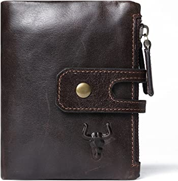 Full zipper Leather RFID blocking wallet rich leather. unique style pocket