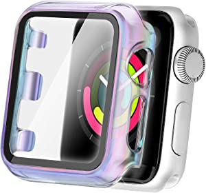 Secbolt 44mm Case Compatible Apple Watch Series 4 & Series 5 with Built in Tempered Glass Screen Protector- All Around Protective Case for Apple Watch Series 5/4 44mm (Translucent Colorful)