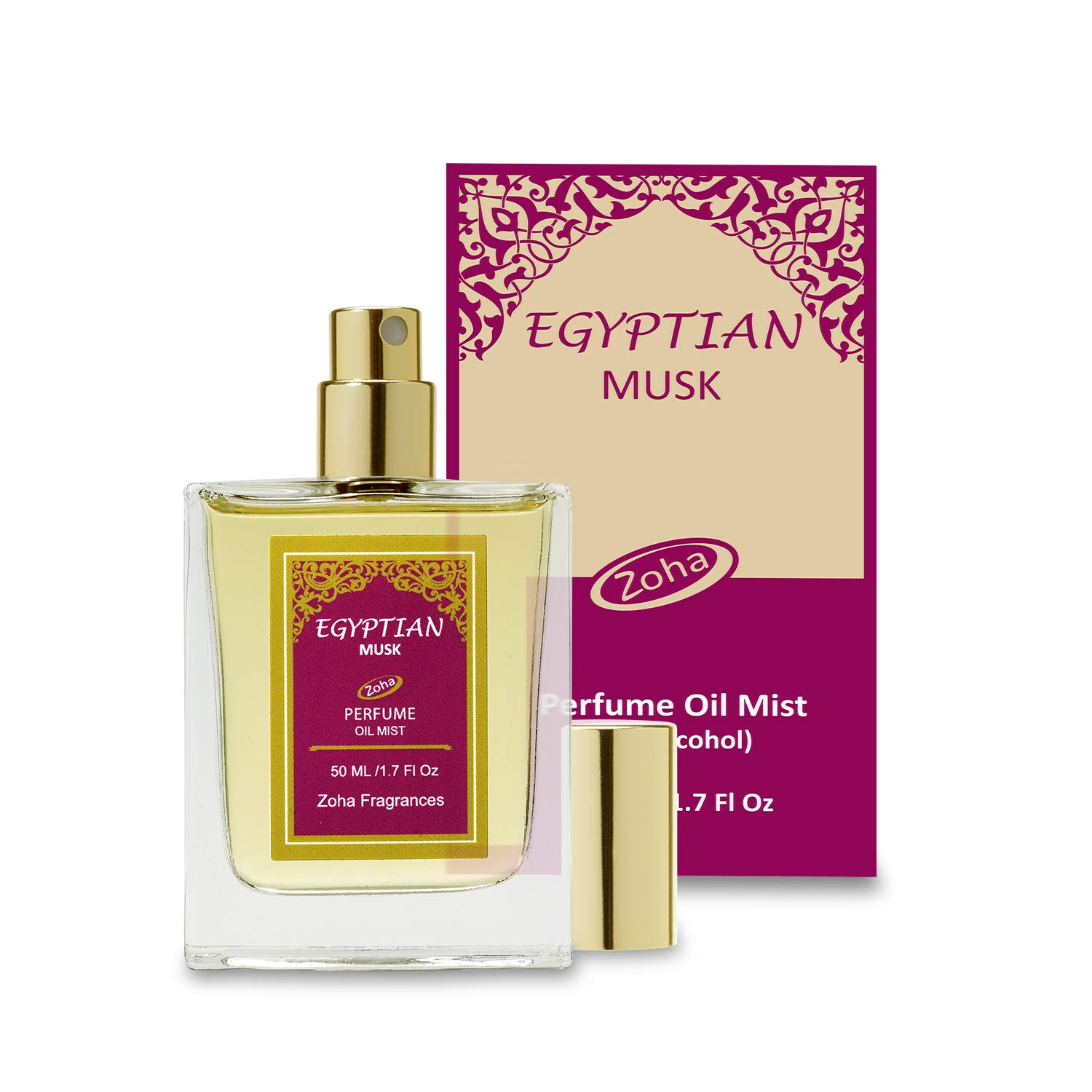 Egyptian Musk Perfume Oil Mist (No Alcohol) Egyptian Oil Fragrance - Essential Oils and Perfumes for Women and Men by Zoha Fragrances, 50 ml / 1.7 fl Oz by Zoha