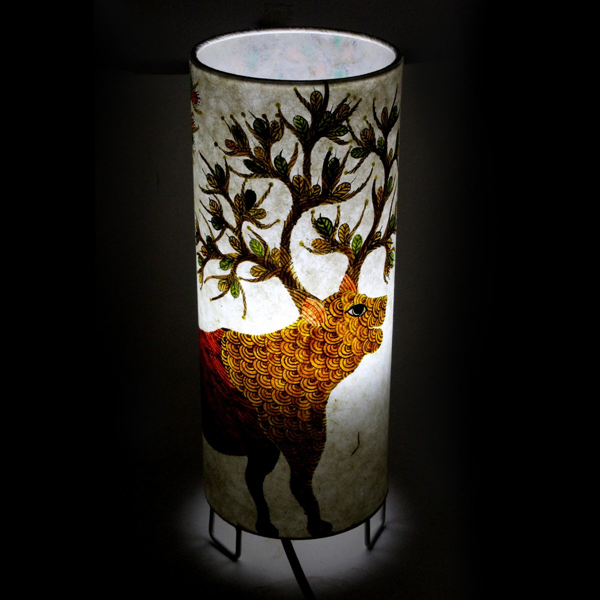 New Indian Classy Gond Art Hand Painted Electric Decorative Tea Light Night Lamp - Crafted On Handmade Canvas Paper and Steel Base By Awarded Tribal Artisans Of India by India Meets India