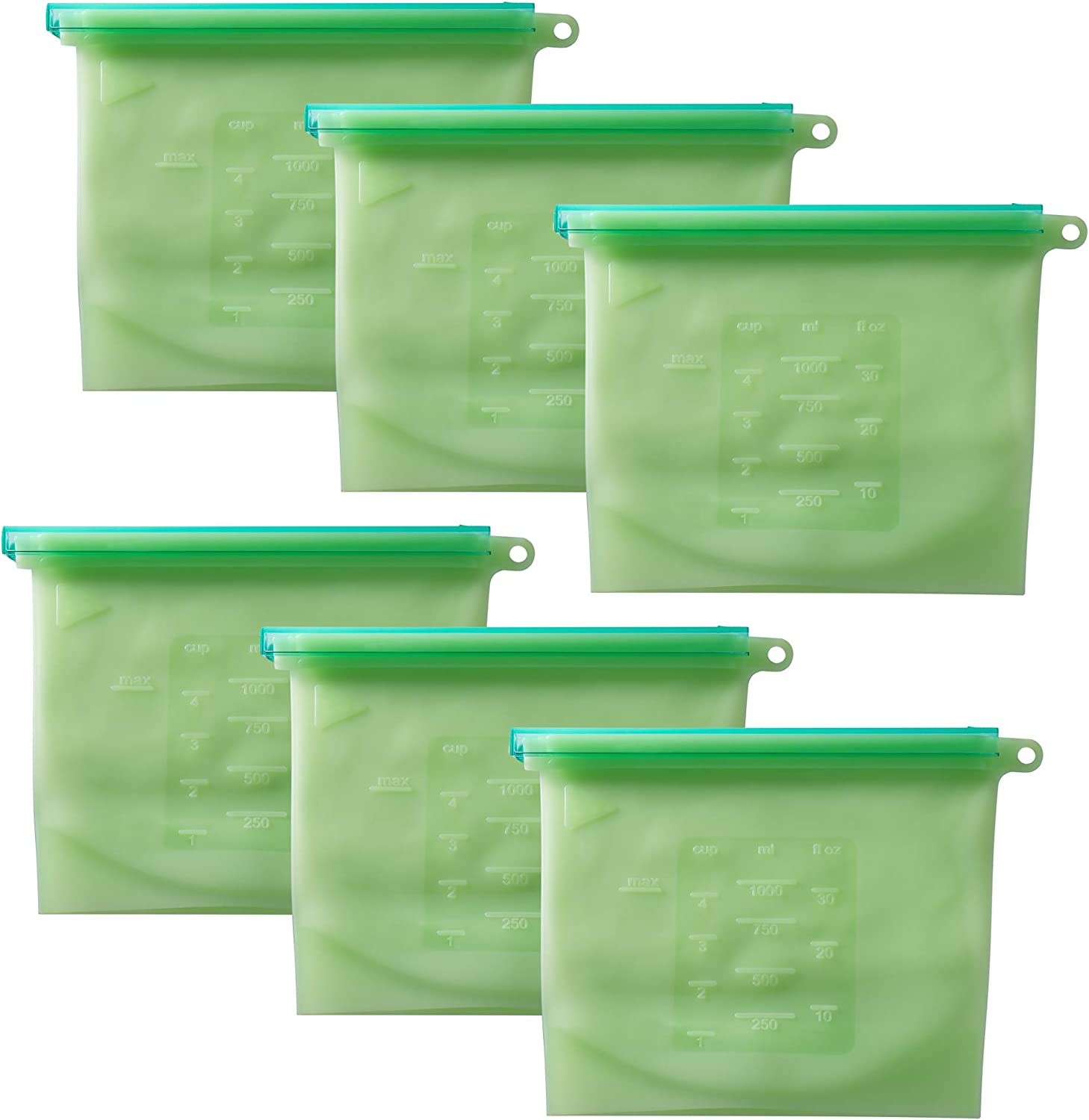 PrimeMed Reusable Silicone Food Storage Bags - Airtight Food Preservation Container for Vegetables, Meat, Fruit & More (Green, 1000 mL) (6 Pack)