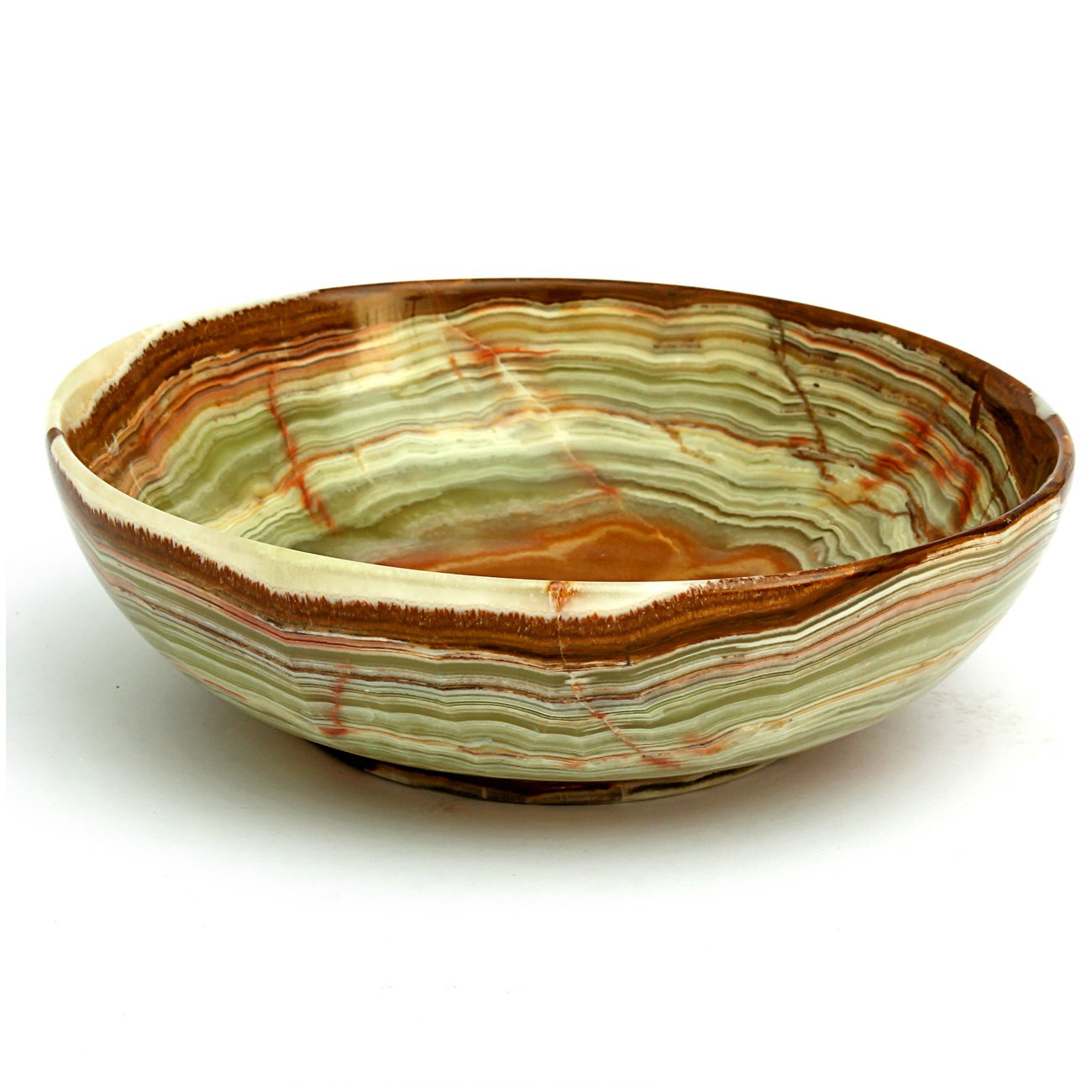 Natures Artifacts Beautifully handcrafted Multi Green Onyx Serving Bowl - 100% Natural Stone - 6''