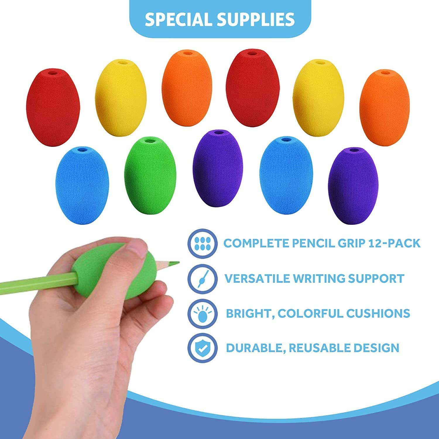 Special Supplies Egg Pencil Grips for Kids and Adults Colorful, Cushioned Holders for Handwriting, Drawing, Coloring - Ergonomic Right or Left-Handed Use - Reusable (12-Pack): Health & Personal Care
