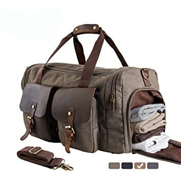 44372e441c WOWBOX Duffle Bag Weekender Bag for Men Genuine Leather Canvas Travel  Overnight Carry on Bag with Shoes Compartment