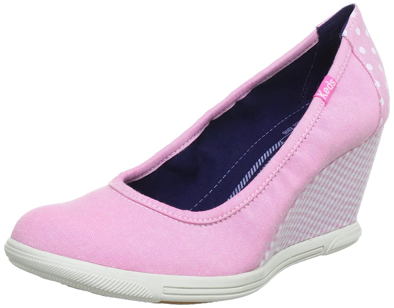 outlet store 48253 7139d Keds Womens Wedge Skimmer Dot Gingham Pumps Pink Pink (pink normal) Size   37  Amazon.co.uk  Shoes   Bags