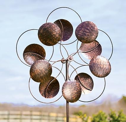 Oversized Bronze Circles Metal Wind Spinner