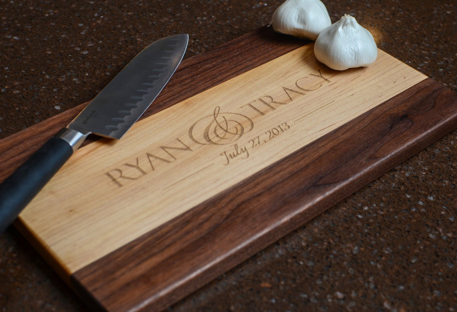 Personalized Maple and Walnut Wood Cutting Board Chopping Block Two Sizes To Choose From