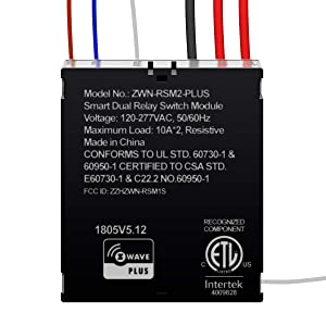 ENERWAVE Z-Wave Plus Dual Relay Switch Module, Z-Wave Relay, Hidden Smart Switch, In-Wall Micro Switch, NEUTRAL WIRE REQUIRED, ZWN-RSM2-PLUS, Black (New Version)