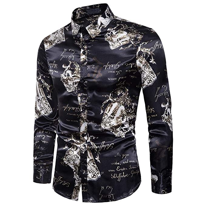 518d4fb325edb Camisas De Manga Larga Estampada De Hombre ❤️AIMEE7 Camisas Hombre Manga  Larga Estampadas