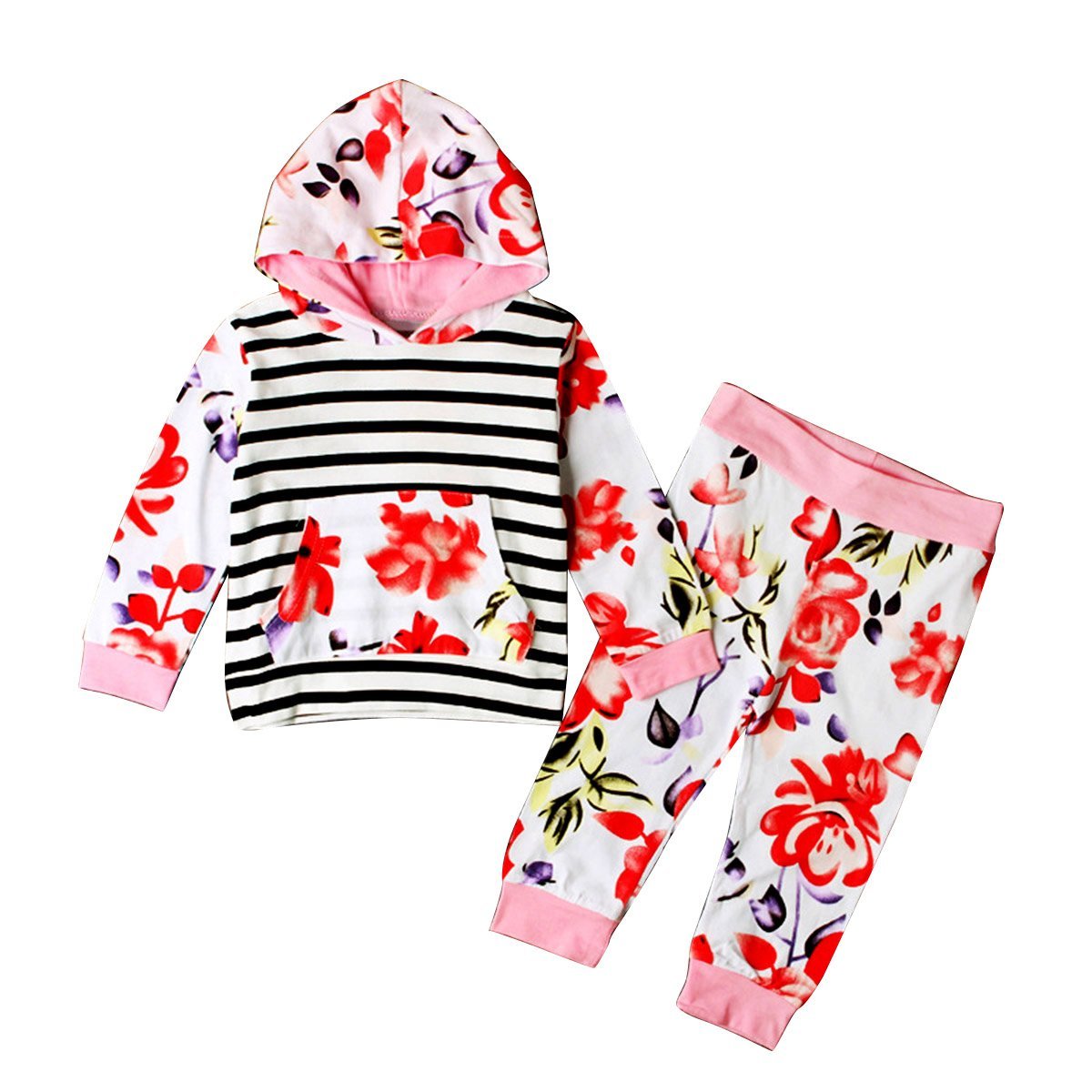 41132eeb2 Puseky Toddler Baby Girls Floral Long Sleeve Stripe Hoodie Top+Pant ...