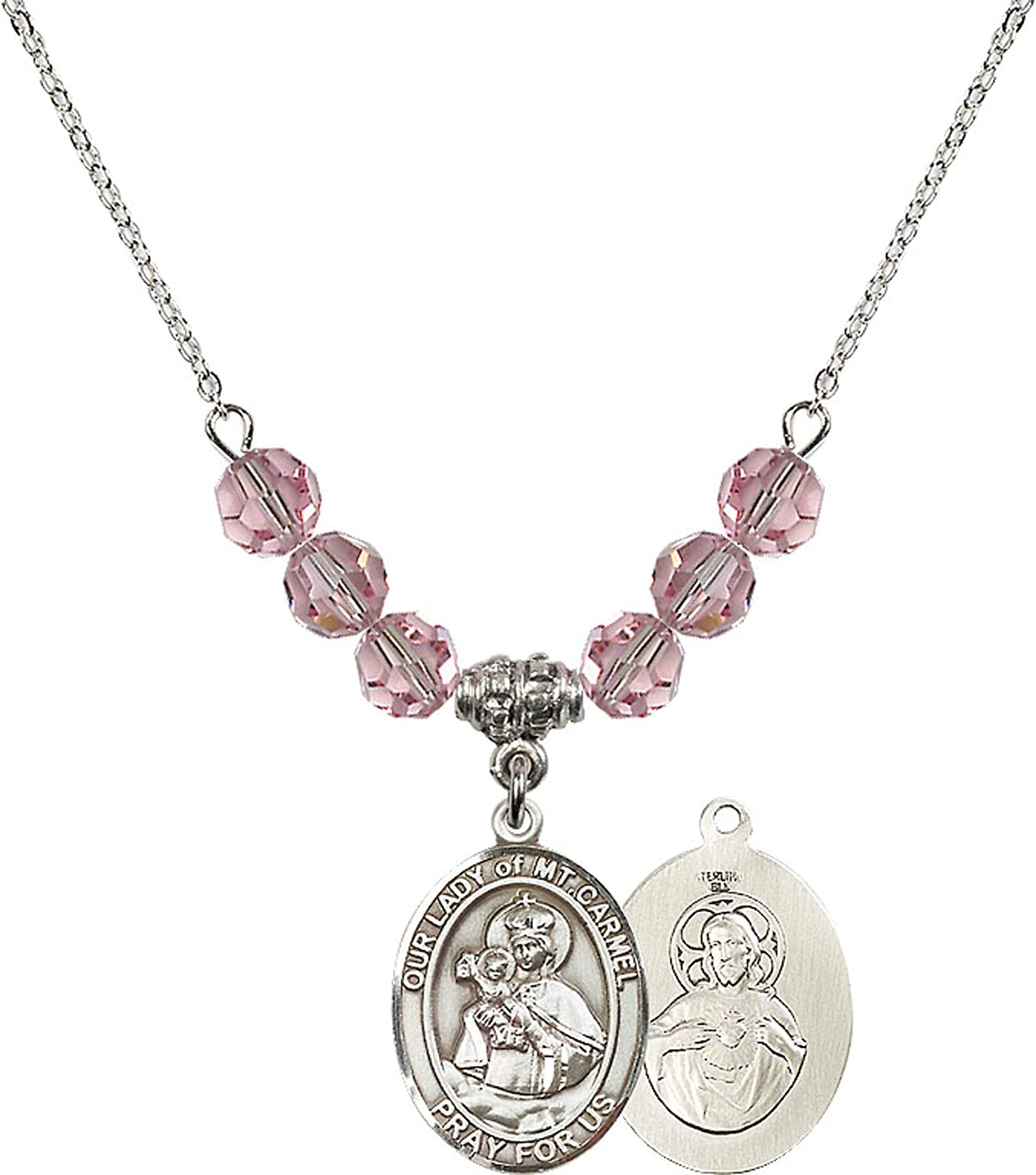 Bonyak Jewelry 18 Inch Rhodium Plated Necklace w// 6mm Light Rose Pink October Birth Month Stone Beads and Our Lady of Mount Carmel Charm