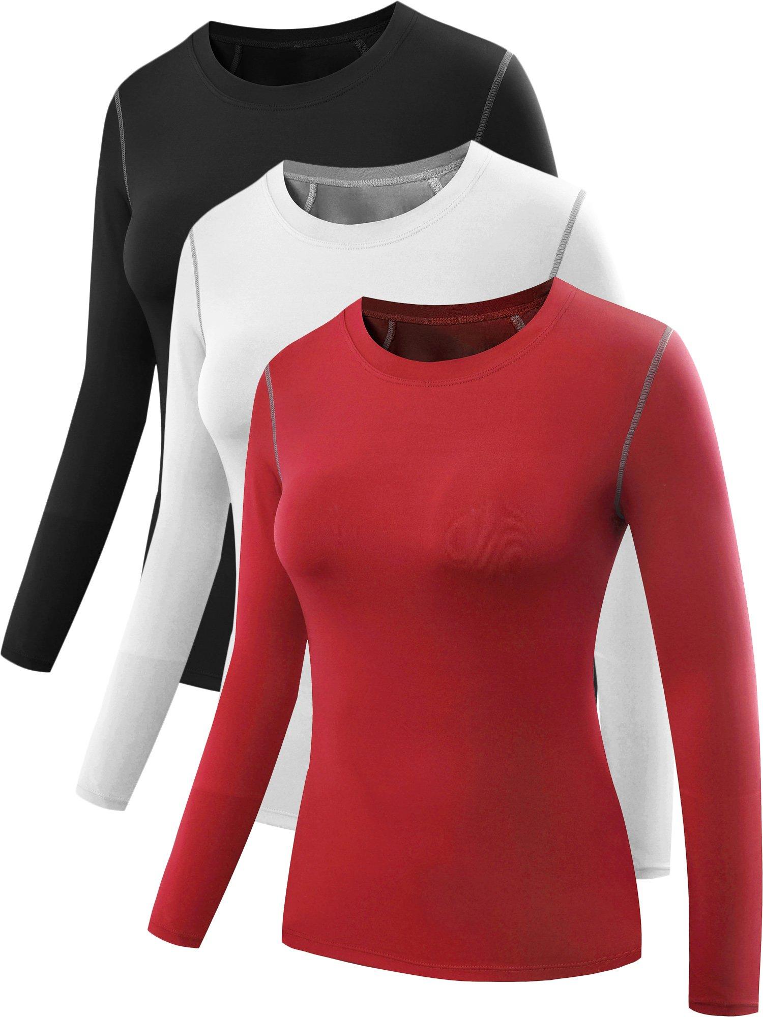 Neleus Women's 3 Pack Dry Fit Athletic Compression Long Sleeve T Shirt,Black,Red,White,2XL,EU 3XL by Neleus