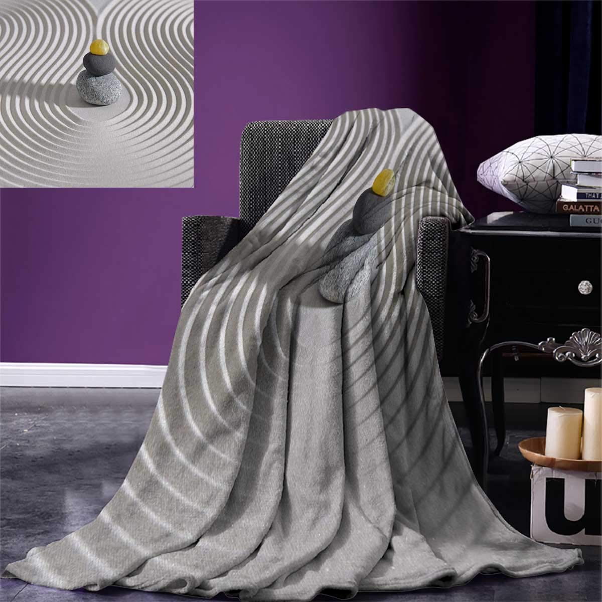 Spa Digital Printing Blanket Three Hot Massage Stones in The Middle of The White Sand Shaped Waves Artwork Summer Quilt Comforter 80''x60'' Grey and Yellow