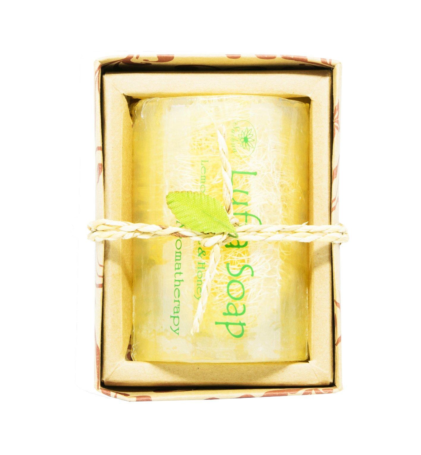 SAIBUA HANDMADE SOAP LUFFA SOAP AROMA LEMONGRASS HONEY SCRUB HERBAL NATURAL 100G.