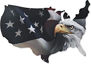 Next Innovations 3D Metal Wall Art - American Flag Wall Decor - Patriotic Eagle Head on USA Outline - Handmade in The USA for Use Indoors or Outdoors