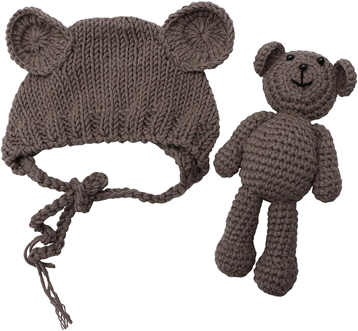 ECYC Newborn Baby Bear Hat Beanie with Bear Dolls Photography Accessories,Brown