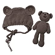 Newborn Baby Bear Hat Beanie with Bear Dolls Photography Accessories,Brown