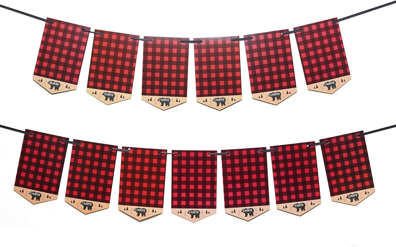 Lumberjack First Birthday Milestone Monthly Photo Banner Garland 12 Months Party Decoration Buffalo Plaid Moose First Year Photography