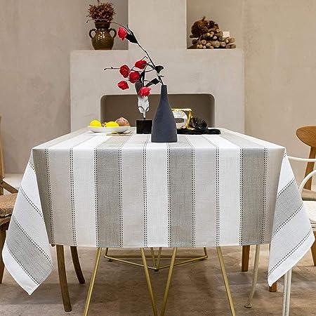 Carvapet Manteles Rectangular Manteles Algodón Lino Mantel Manteles para Cocina Comedor Mesa Buffet Mantel de la Tabla (Raya Gris, 140x140CM): Amazon.es: Hogar