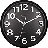 """Large Number Wall Clock, Plumeet 13"""" Silent Wall Clock with Large Numbers and Non-ticking Digital, Modern Style Good for Living Room & Home & Office Battery Operated (Black)"""