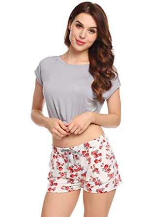 Ekouaer Romantic Princess 2 Pieces Short Sleeves Top With Pants For  Women 54046a406