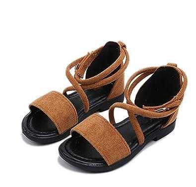 e675ab07da29b Habitaen Girls Sandals Summer Kids Shoes Princess Gladiator Solid Children  Flat Beach Sandals Size 26-