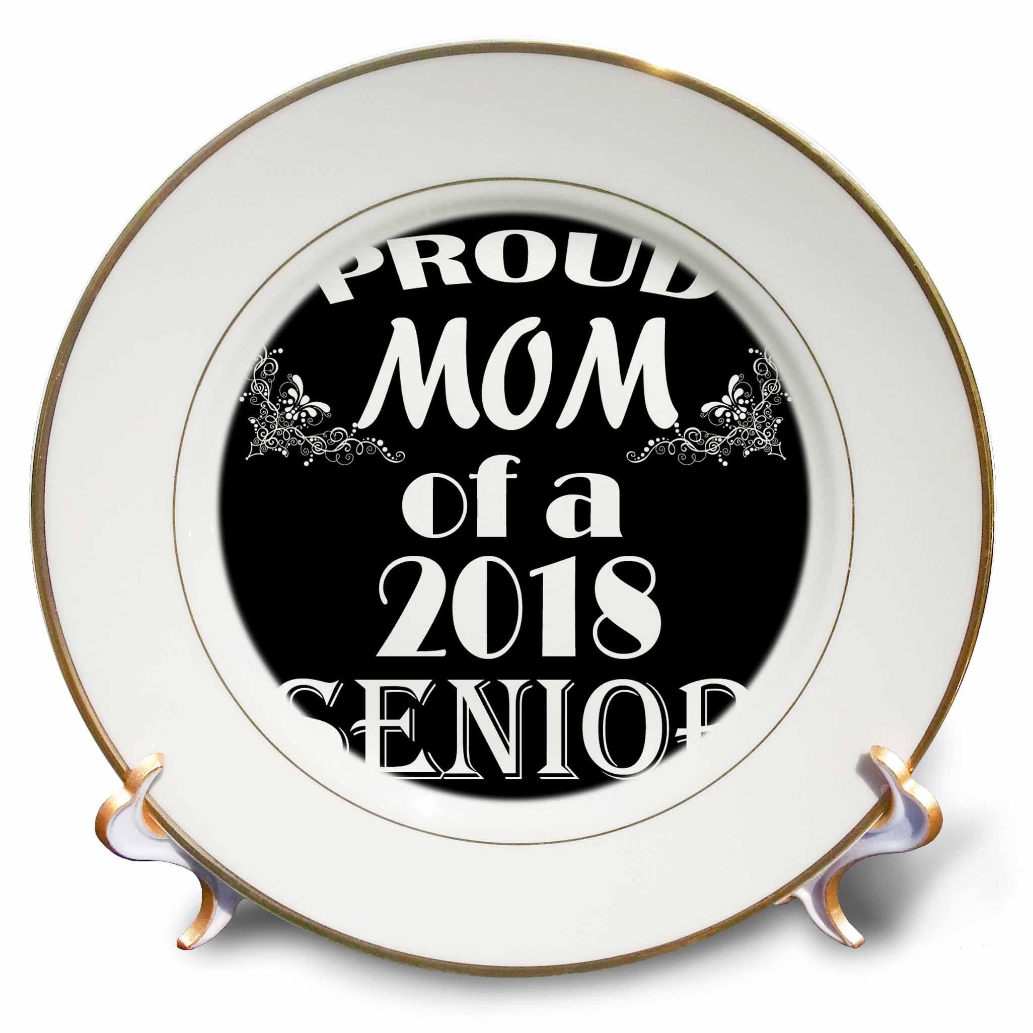 3dRose RinaPiro Graduation Sayings - Proud Mom of 2018 Senior. Black and white. - 8 inch Porcelain Plate (cp_282823_1)