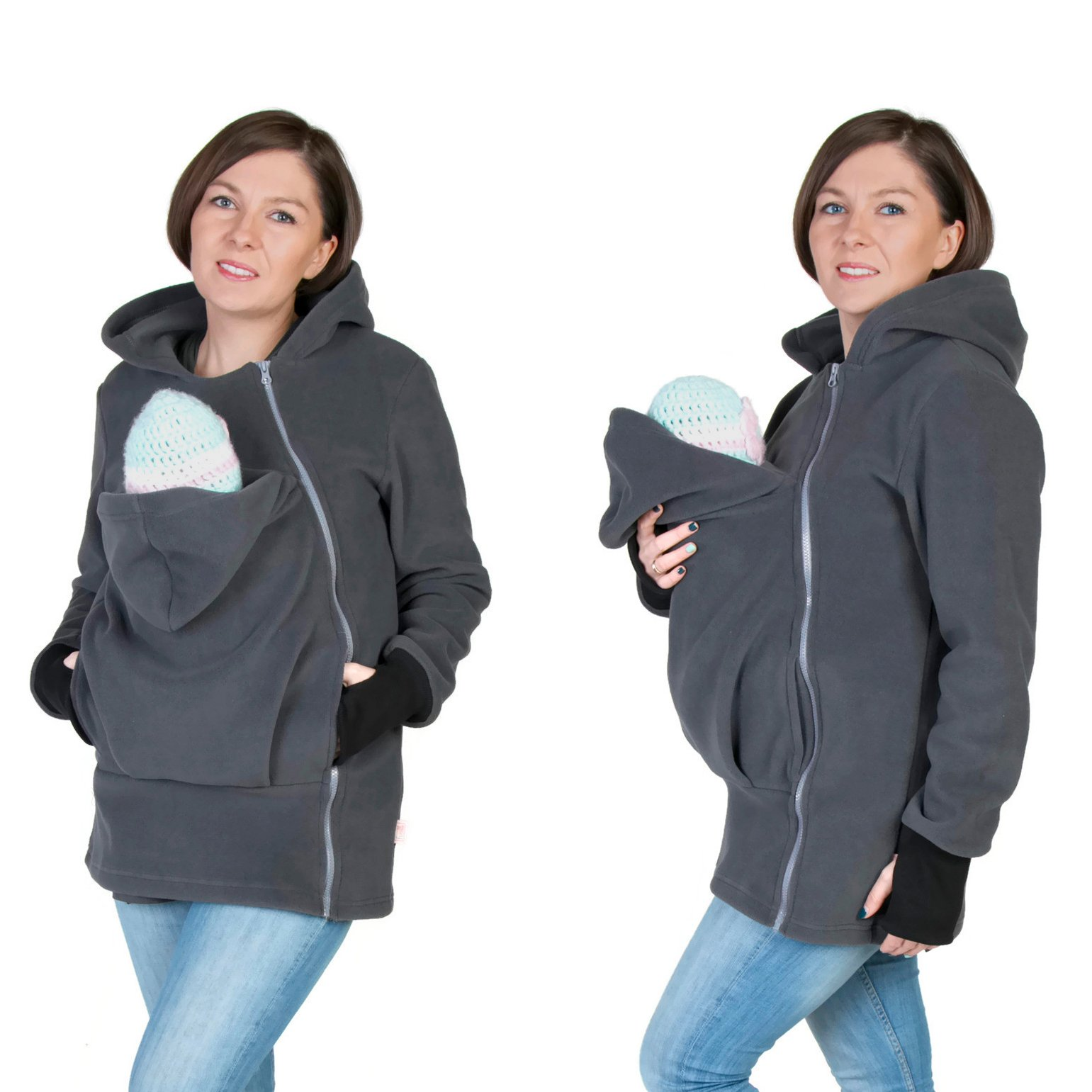 Maternity Warm Polar Fleece, Hoodie/Pullover for two/for Baby Carriers GRAPHITE (XXL - US14)