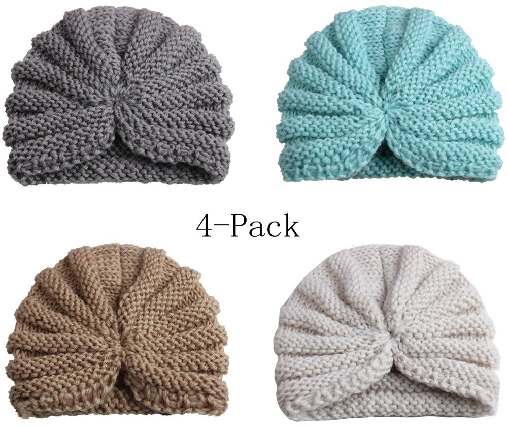 Wellwear Baby Boy's Hat Kids Cool Knit Beanie Hats Toddlers Soft Cute Caps(4Pack) (4Pack-b)