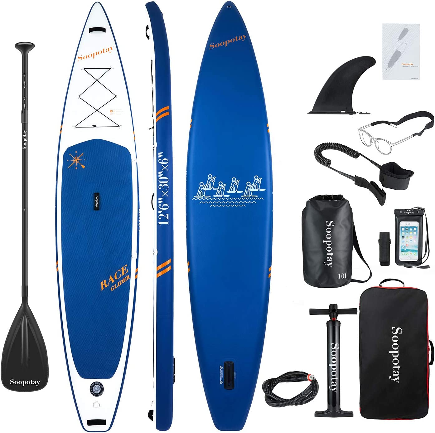 SOOPOTAY Inflatable SUP Stand Up Paddle Board, Inflatable SUP Board, iSUP Package with All Accessories Updated-Racing-Navy Blue-12 6 x 30 x 6