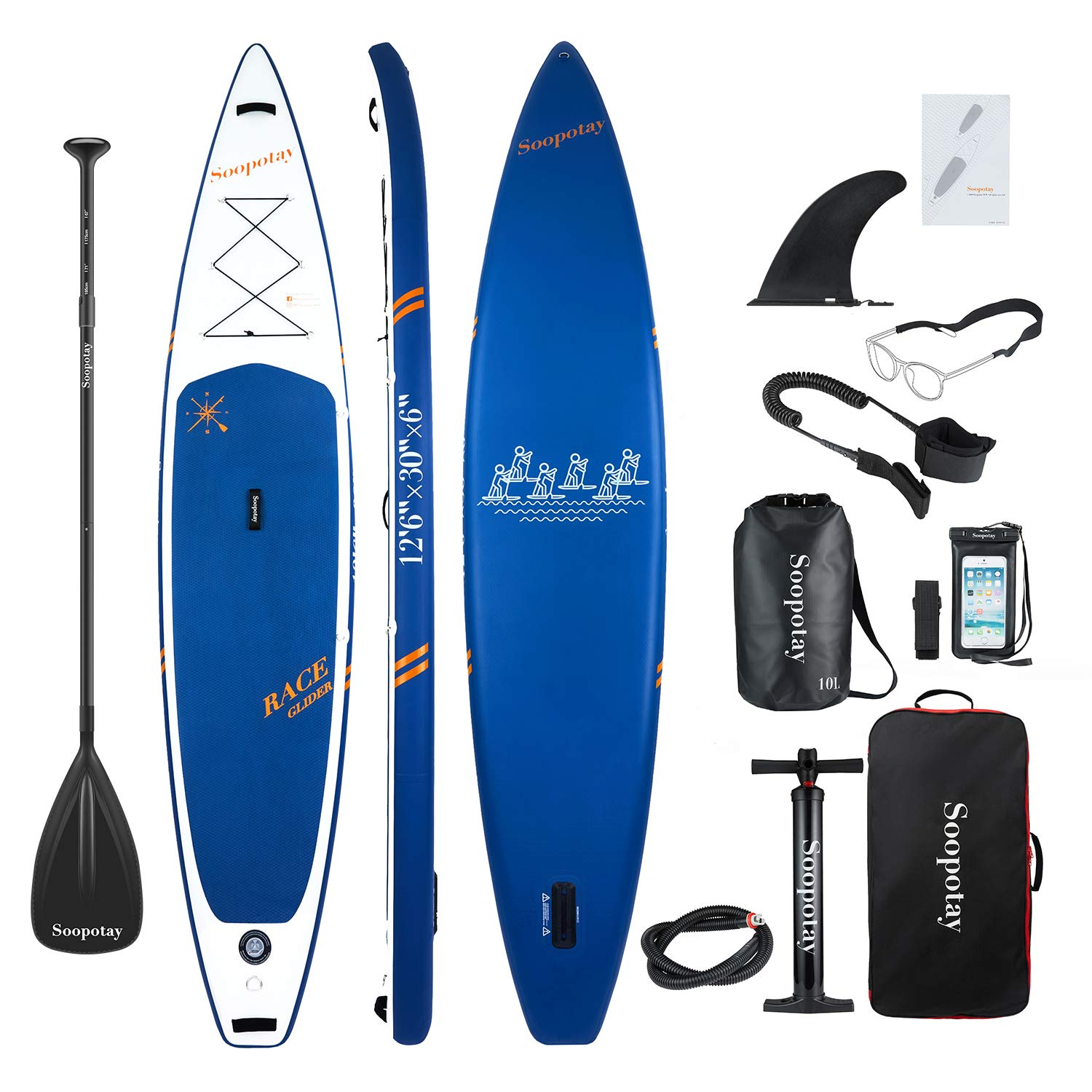 Inflatable SUP Stand Up Paddle Board, Inflatable SUP Board, iSUP Package with All Accessories (Racing-Navy Blue-12'6'' x 30'' x 6'') by Soopotay (Image #1)