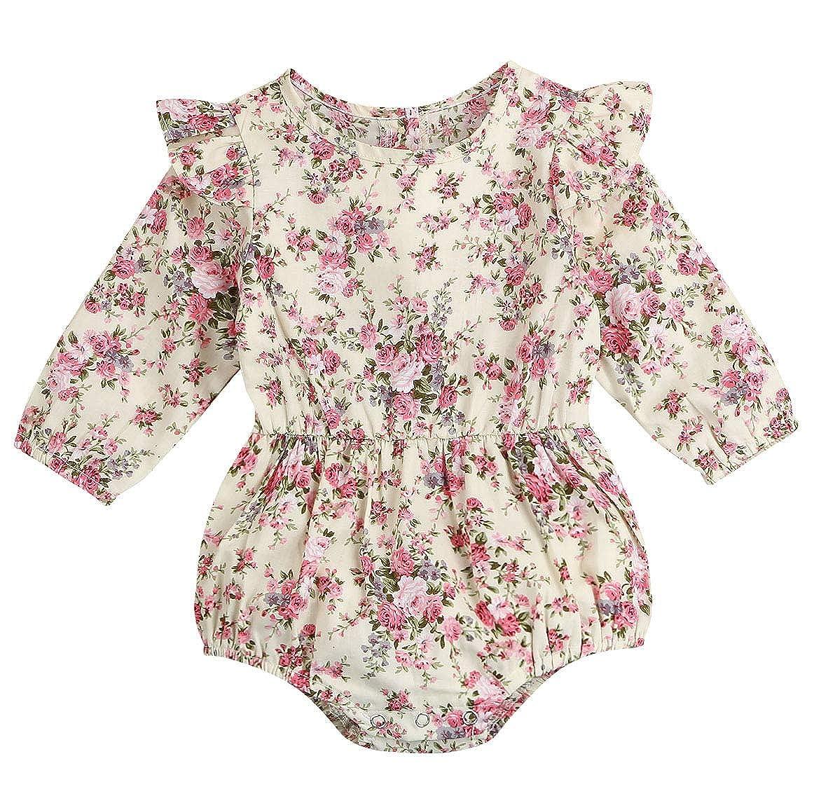 d5ecb78439de Amazon.com  Seven Young Newborn Baby Girls Floral Print Backless Romper  Infant Kids Jumpsuit Outfit Playsuit Clothes  Clothing
