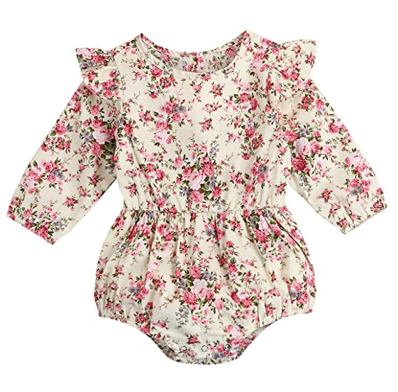 b4fb97bd6992 Image Unavailable. Image not available for. Color  Seven Young Newborn Baby  Girls Floral Print Backless Romper Infant Kids Jumpsuit Outfit Playsuit  Clothes