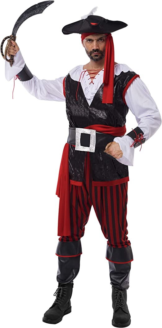 Pirate Hat /& Feather Men/'s Fancy Dress Costume Party Accessory Adult Red