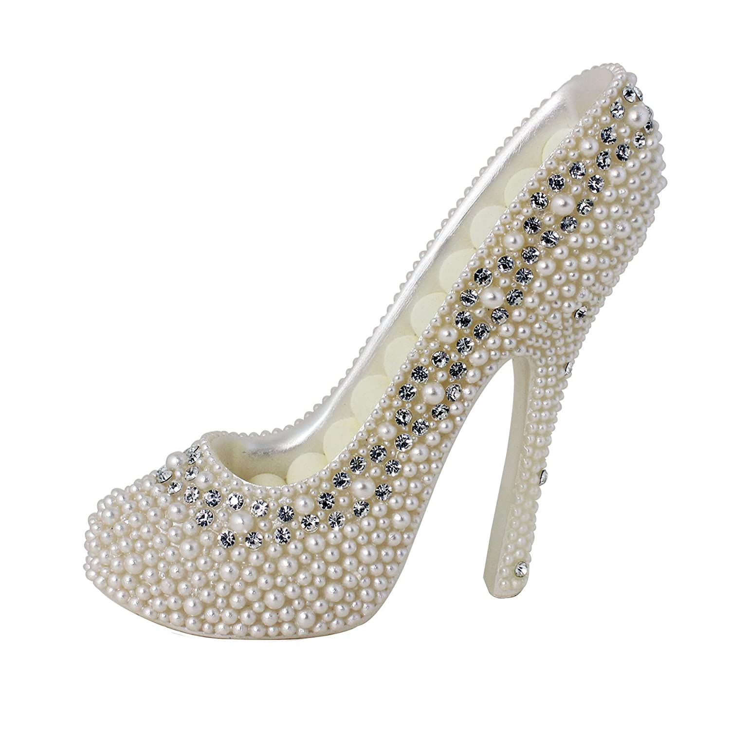 JewelryNanny 8-Ring Shoe Lovers' Simulated Pearl Crystal High Heel Ring Holder Shoe, White 14575-01