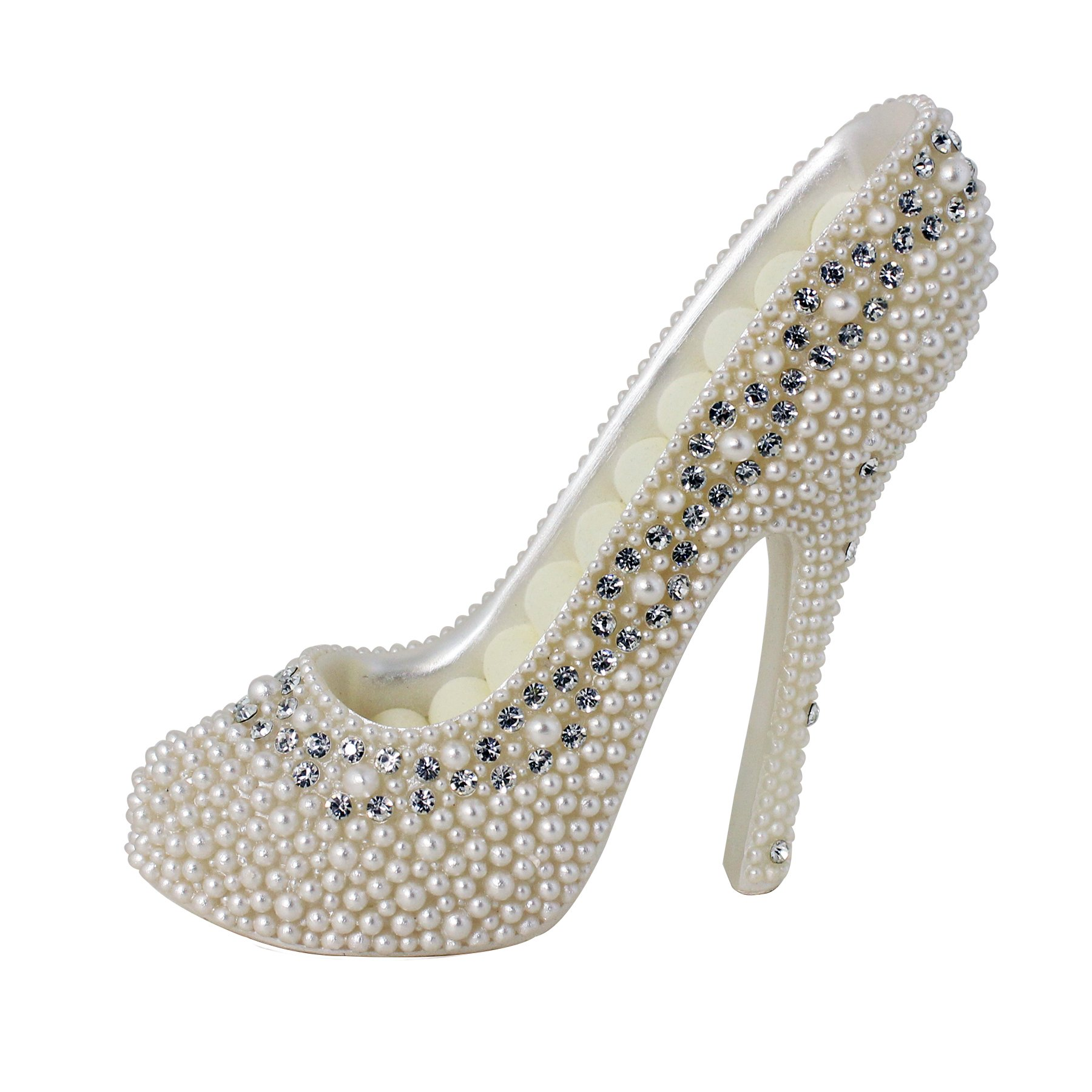 JewelryNanny 8-Ring Shoe Lovers' Simulated Pearl Crystal High Heel Ring Holder Shoe, White