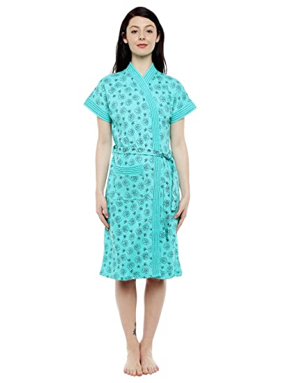 4736558a91 Sand Dune - Sea Green Color Womens Printed Bathrobe Gown - 100% Terry  Cotton -