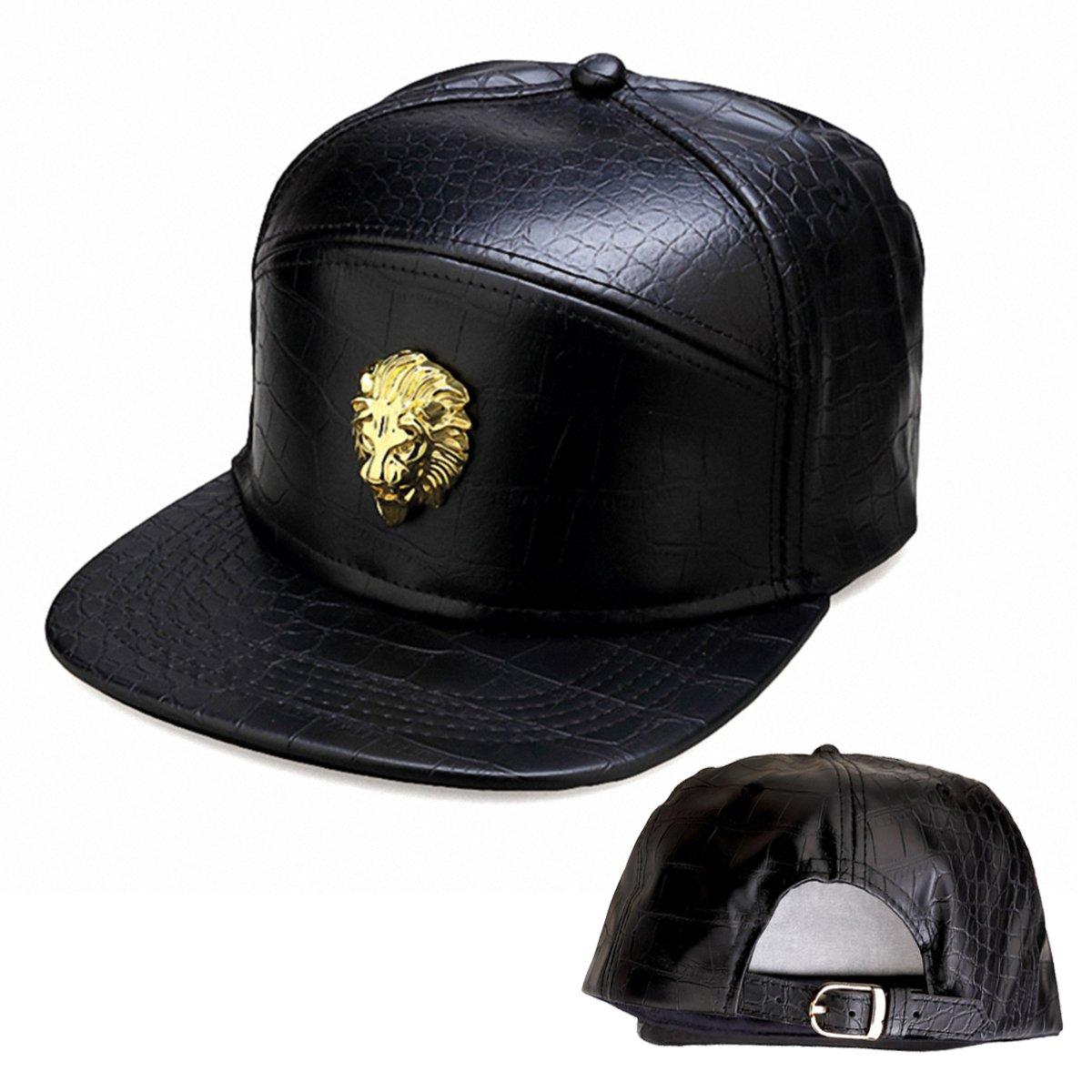 Flat Bill Snapback Baseball Punk Cap Hat nukic Unisex Leder Lion Head Kappe Baseball verstellbar