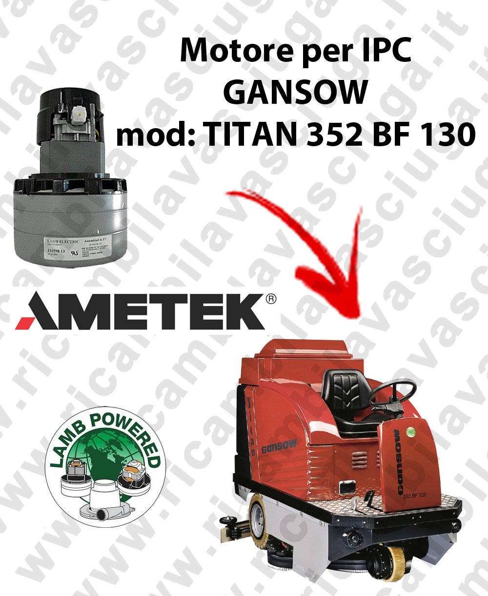 Titan 352 BF 100 Motor Lamb ametek de aspiración para mopa IPC ...
