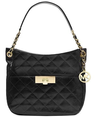 3edaa139a7da Michael Michael Kors Susannah Lock Medium Shoulder Black gold  Handbags   Amazon.com